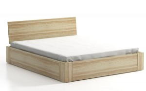 COMFORT SEL with storage for bedding - headrest behind a wooden - ash - opens from the front