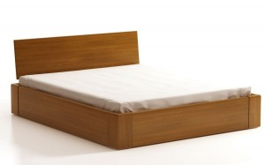 COMFORT SEL with storage for bedding - headrest behind a wooden - oak - opens from the front