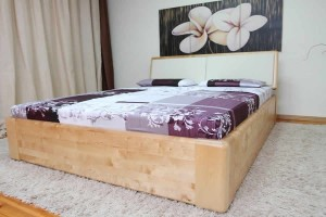 COMFORT SEL with storage for bedding - upholstered headboard - oak - opens from the front