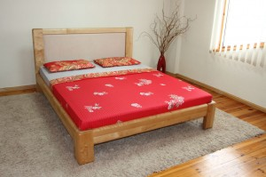 Bed LES - oak - Upholstered headboard
